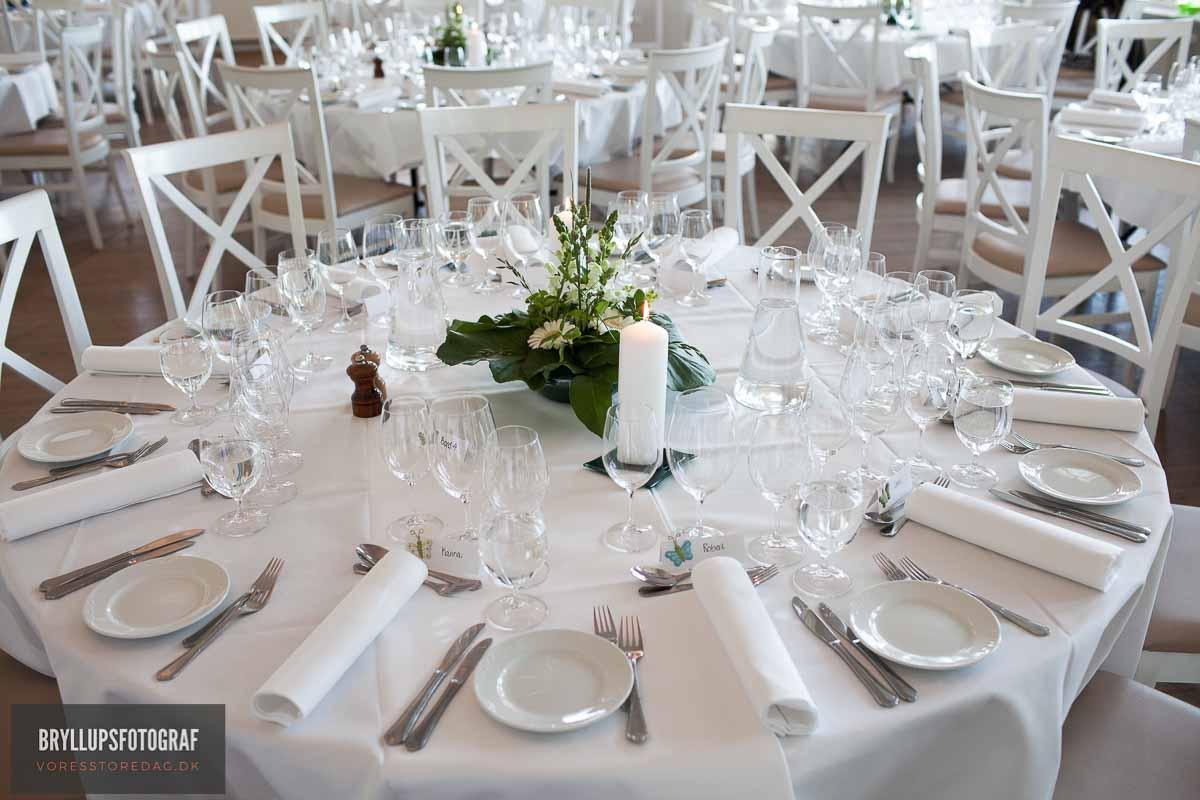 Borddækning bryllup sjælland